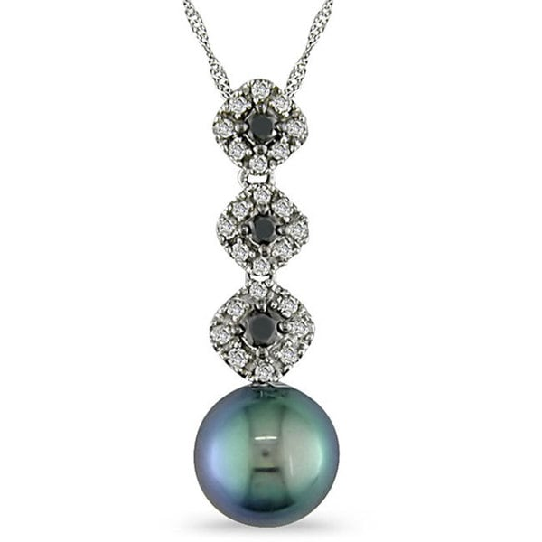 Miadora 14k Gold Black Cultured Freshwater Pearl and 1/4ct TDW Black and White Diamond Necklace (8-9 mm)