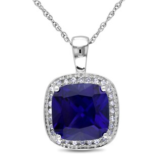 Miadora 10k Gold Created Sapphire and 1/10ct TDW Diamond Necklace (I-J, I2-I3)