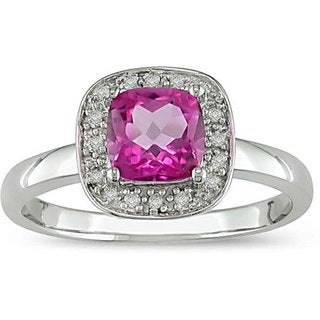 Miadora 10k Gold Pink Topaz and Diamond Accent Ring