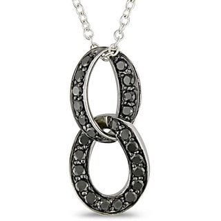 Sterling Silver 3/4ct TDW Black Diamond Loop Necklace