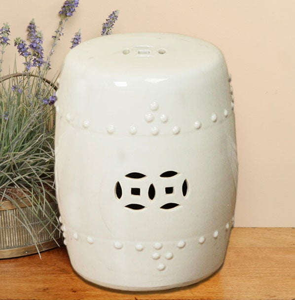 Handmade Off White Porcelain Garden Stool China Free Shipping