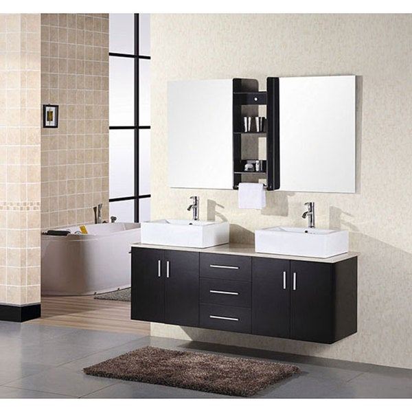 Design element contemporary double sink bathroom vanity with vessel sinks free shipping today for Contemporary bathroom sinks and vanities