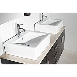 Design Element Contemporary Double Sink Bathroom Vanity with Vessel Sinks