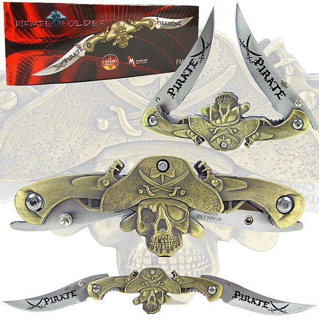 Pirate-themed 9.5-inch Dual Blade Pocket Knife