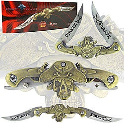 Pirate-themed 9.5-inch Dual Blade Pocket Knife - Thumbnail 0