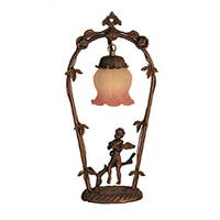 Violin Cherub Pink/ White Melon Flower Lamp