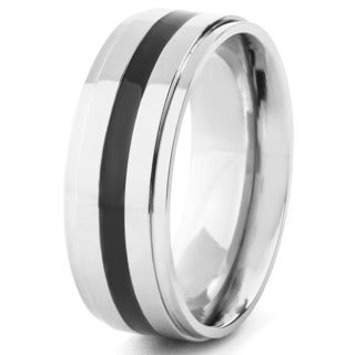 Men's Polished Titanium Black Resin Inlay Comfort Fit Ring - 8mm Wide