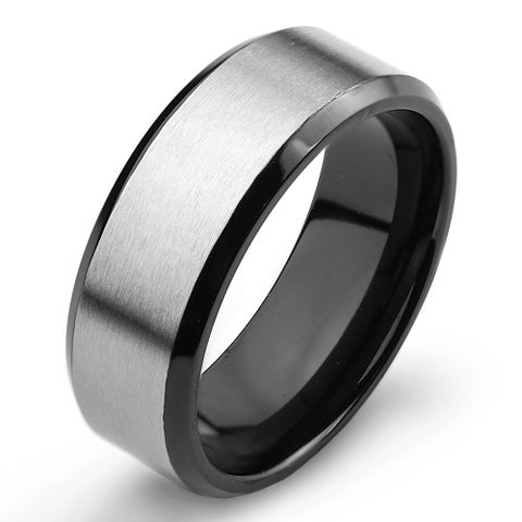 Men's Two Tone Titanium Comfort Fit Wedding Band - 8mm Wide - White