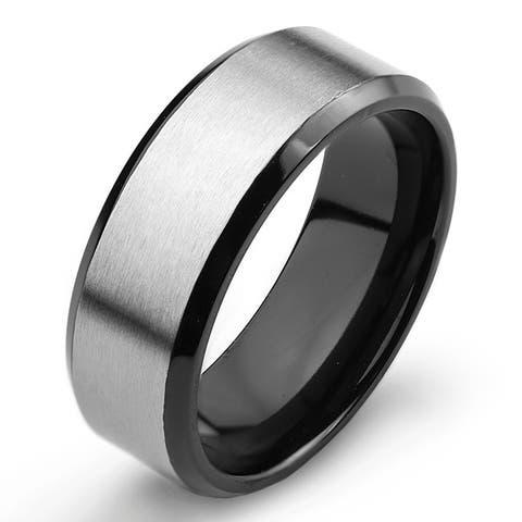 Men's Two Tone Titanium Comfort Fit Wedding Band - 8mm Wide