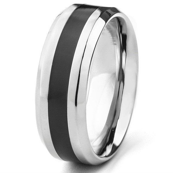 Men's High Polish Titanium Ring with Black Resin Inlay- 8mm Wide