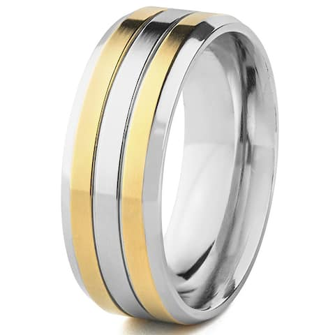 Men's Titanium Goldplated Grooved Ring (8 mm) - White