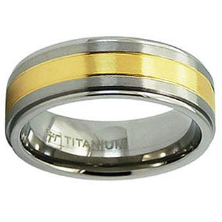 Men's Titanium Polished Goldplated Grooved Ring