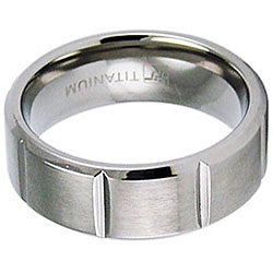Men's Titanium Satin Finish Beveled Edge Grooved Ring