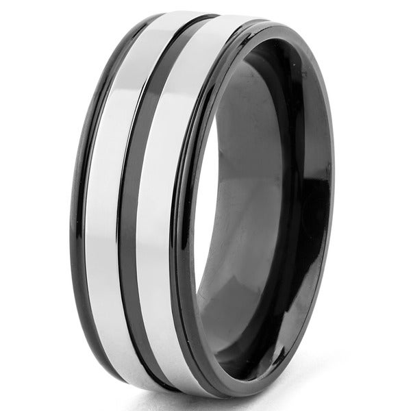 Men's Two Tone Polished Titanium Striped Grooved Comfort Fit Ring - 8mm Wide - Black
