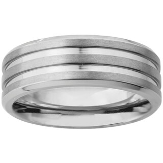 Men's Titanium Satin Finish and Polished Grooved Ring (8 mm) - Silver (5 options available)