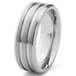 Men's Titanium Satin Finish and Polished Grooved Ring (8 mm) - Silver