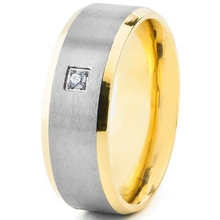Men's Two Tone Dual Finish Titanium Cubic Zirconia Beveled Comfort Fit Ring - 8mm Wide - Silver