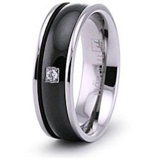 Men's Titanium Black Plated Cubic Zirconia Ring