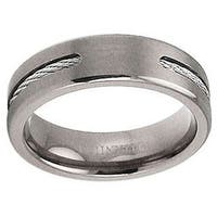Men's Titanium Band with Steel Cable Inlay