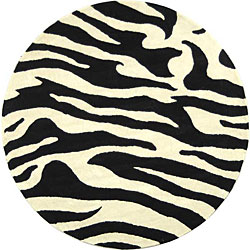 Hand Tufted Zebra Stripe Wool Rug 8 Ft Round Free