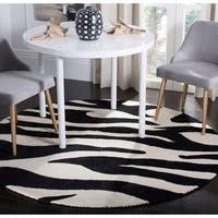 Safavieh Handmade Soho Zebra Wave White/ Black N. Z. Wool Rug - 8' x 8' Round