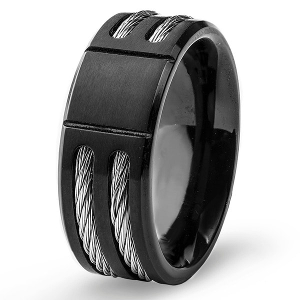 s titanium black plated cable inlay band 8 mm free