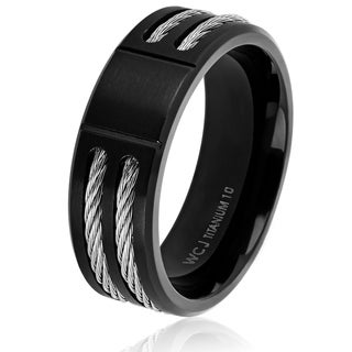 Men's Titanium Black Plated Cable Inlay Band (8 mm)