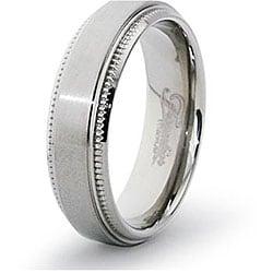 Men's Titanium Satin Finish Milligrain Ring