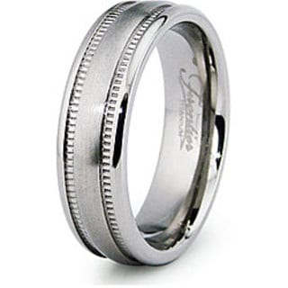Men's Titanium Domed Milligrain Band
