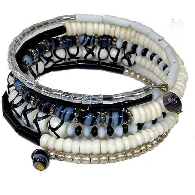 Five Turn Bone Black/ White Bracelet (India)
