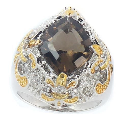 Gems en Vogue Palladium Silver Diamond Cut Smoky Quartz & White Sapphire Ring