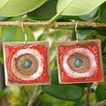 Square Copper and Enamel Earrings (Chile)