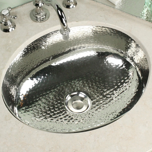 Oval Hammered Nickel Vanity Bowl