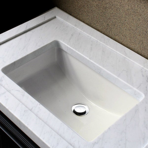 ... White Ceramic Small Rectangular Undermount Bathroom Sink w/ Overflow