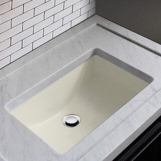 Highpoint Collection Ceramic 18x12-inch Undermount Vanity Sink - Bisque