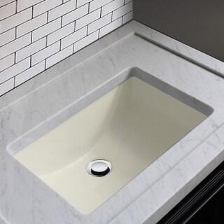 Highpoint Collection Ceramic 18x12 Inch Undermount Vanity Sink   Bisque