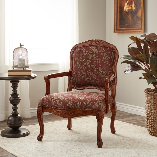 Shop Curved Arm Merlot Floral Chair Free Shipping Today