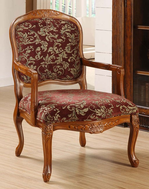Curved Arm Merlot Floral Chair Free Shipping Today