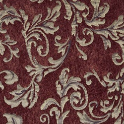 Curved Arm Merlot Floral Chair - Thumbnail 2