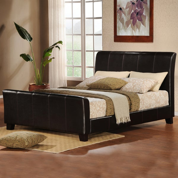 Tuscany Villa Dark Brown Upholstered King-size Sleight Bed. Opens flyout.