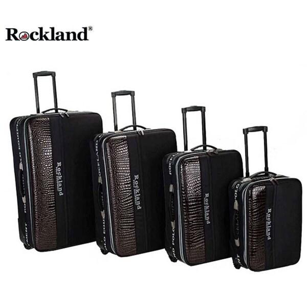 Rockland Polo Brown Crocodile 4-piece Luggage Set