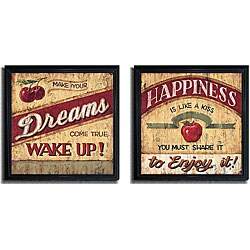 Brent McRae 'Dreams & Happiness' 2-piece Framed Canvas Set