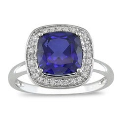 Miadora 10k Gold Created Sapphire and 1/10ct TDW Diamond Ring (I-J, I2-I3)
