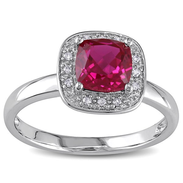 Miadora 10k Gold Created Ruby and Diamond Accent Ring