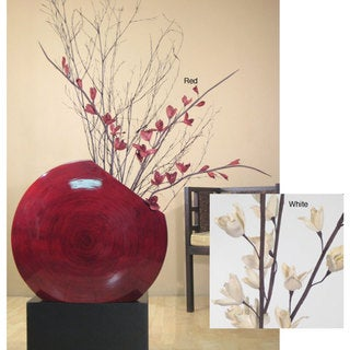 Red Bamboo Circular Vase with Dried Florals (Stand Not Included)