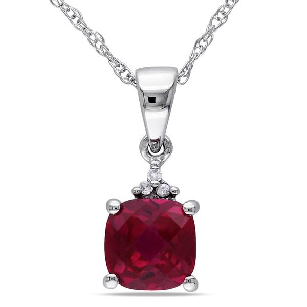 Miadora 10k Gold 1/10ct TDW Diamond/ Created Ruby Necklace