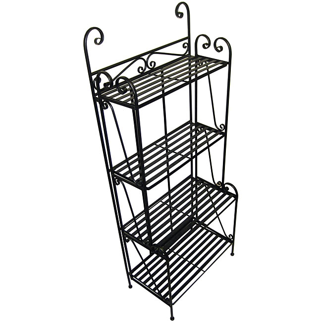 Folding Piper Black 4-shelf Baker's Rack - Thumbnail 0