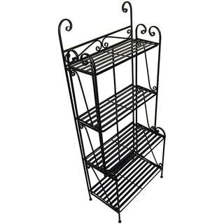 Folding Piper Black 4-shelf Baker's Rack