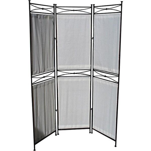 Iron/ Canvas Black Six-panel Room Divider