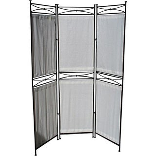 Iron/ Canvas Black Six-panel Room Divider